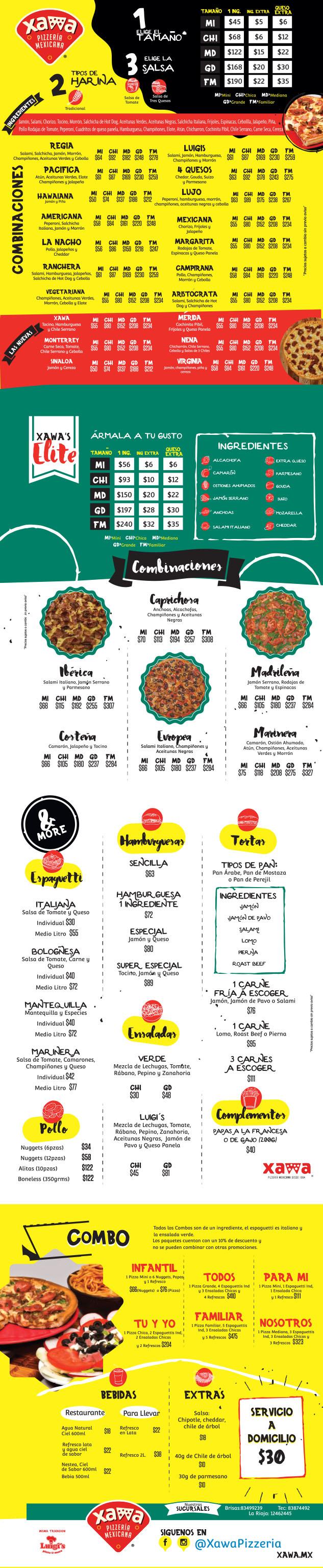 Menu de Xawa Pizzería Monterrey 2019